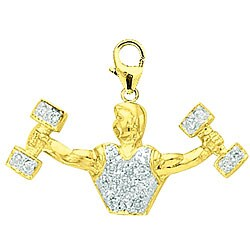 14k Gold 1/10ct TDW Diamond Weigh Lifter Charm