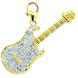 14k Yellow Gold 1/10ct TDW Diamond Guitar Charm