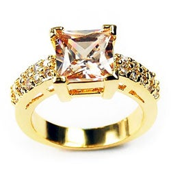 Simon Frank 14k Yellow Gold Overlay Champagne Solitaire Ring