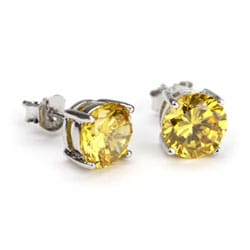 Simon Frank 14k White Gold Overlay Canary Diamoness Earrings