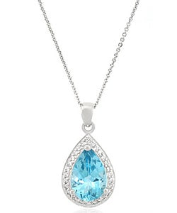 Glitzy Rocks Sterling Silver Blue Topaz and Cubic Zirconia Necklace