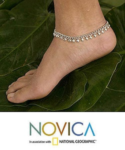 Sterling Silver 'Palace Charms' Anklet (Indonesia)