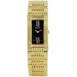 Seiko Women's Black Dial Gold Tone Watch