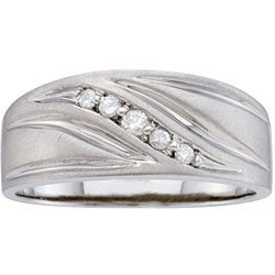 Stainless Steel Men's 1/10ct TDW Diamond Band (H-I, I2-3)