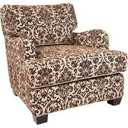 Fiona chocolate cream floral chair 11271744 overstock for Abbyson living soho cream fabric chaise
