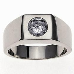 Simon Frank 14k White Gold Overlay Men's Super Solitaire Ring