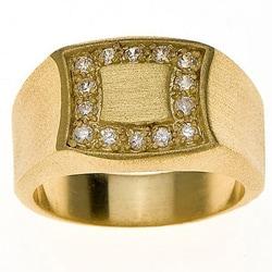 Simon Frank 14k Yellow Gold Overlay Men's Signet Ring