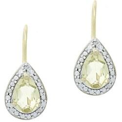 Glitzy Rocks 18k Gold/ Silver Diamond-accented Lime Quartz Earrings
