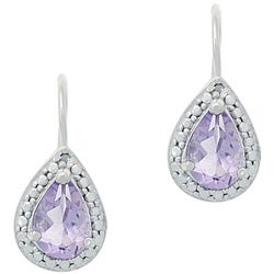 Glitzy Rocks Sterling Silver Diamond and Amethyst Earrings