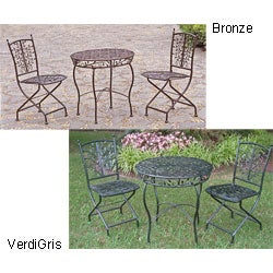 Iron Bistro 3-piece Table and Folding Chair Set