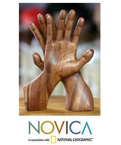 'Hand of Friendship' Wood Statuette (Indonesia)