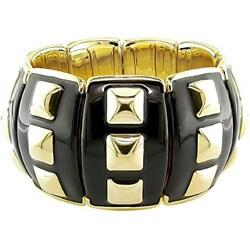 Miadora Sterling Silver Yellow Gold/ Black Enamel Bracelet