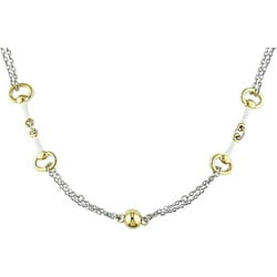 Goldplated Sterling Silver and White Enamel Necklace
