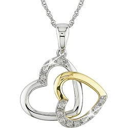 Miadora 10k Two-tone Gold 1/10ct TDW Diamond Heart Necklace (I-J, I2-I3)