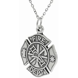 Tressa Sterling Silver Fire Dept Symbol Necklace
