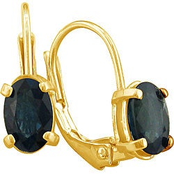 14k Yellow Gold Oval Sapphire Leverback Earrings