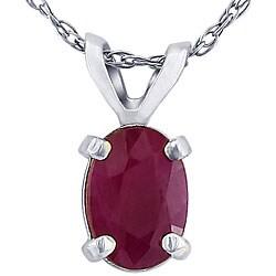 14k White Gold Oval Ruby Necklace