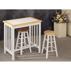 White Tile Top Wood Breakfast Bar Set | Overstock.