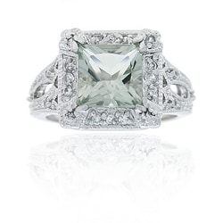 Sterling Silver Green Amethyst and Cubic Zirconia Ring