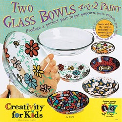 Two Glass Bowls 4-U-2 Paint Kit with Eight Non-toxic Water-base paint