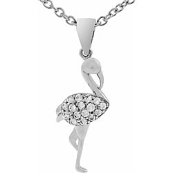 Tressa Sterling Silver Cubic Zirconia Flamingo Necklace