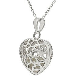 Tressa Sterling Silver Heart with Stones Inside Necklace