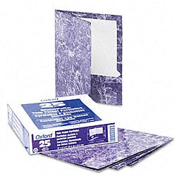 Marble Design Laminated Two-Pocket Purple Portfolios (25 per Box)