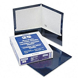 Laminated 100-Sheet Navy Two-Pocket Portfolios (25 per Box)
