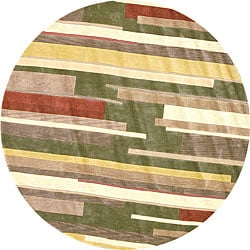 Tufted Ackworth Olive/ Gold Area Rug (7'10 Round)