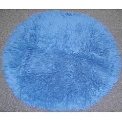 Premium Flokati Steel Blue Rug (6' Round)