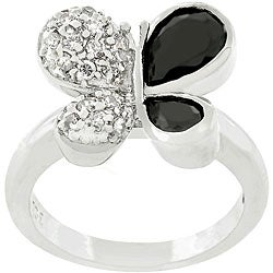Kate Bissett Silvertone CZ and Onyx Butterfly Ring