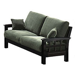 Arenth Chenille Green Black Two Cushion Sofa 11436088