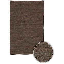 Hand-woven Mandara Brown Leather Rug (3'6 x 5'6)