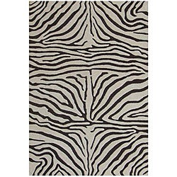 Hand-tufted Brown Zebra Wool Rug (6' Round)