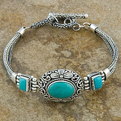 Silver &#39;Cawi Motif&#39; Turquoise Bracelet (Indonesia)