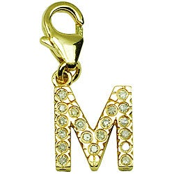 14k Yellow Gold 1/10ct TDW Round-cut Diamond Letter 'M' Charm (H-I/J, I2)