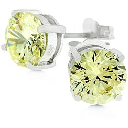 Kate Bissett 14k White Gold over Sterling Silver CZ Earrings