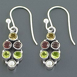Sterling Silver Multi-gemstone Dangle Earrings (3 mm) (India)