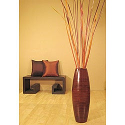 Autumn Palms in Bamboo Cylinder Floor Vase
