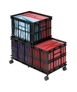 Rolling File Cart, Crate System,  BK