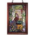 Tiffany-style Peacock Wooden Window Panel