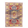 Indo Kazak Hand-knotted Red/Gold Rug (5&#39; x 7&#39;)