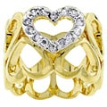 Kate Bissett Two-tone Oversized Pave Heart Cubic Zirconia Ring