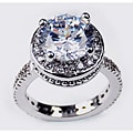 Simon Frank 14k White Gold Overlay Diamoness Solitaire Ring