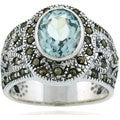 Glitzy Rocks Sterling Silver Marcasite and Genuine Blue Topaz Ring