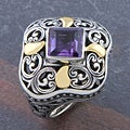 Sterling Silver 18k Gold Amethyst 'Cawi' Ring (Indonesia)