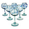Set of 6 Blown Glass &#39;Blue Ribbon&#39; Wine Glasses (Mexico)