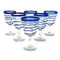 Set of 6 'Cobalt Spirals' Wine Glasses (Mexico)