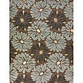 Amber Brown and Blue Floral Rug (7'7 x 10'5)