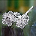 Sterling Silver 'Wild Roses' Brooch (Indonesia)